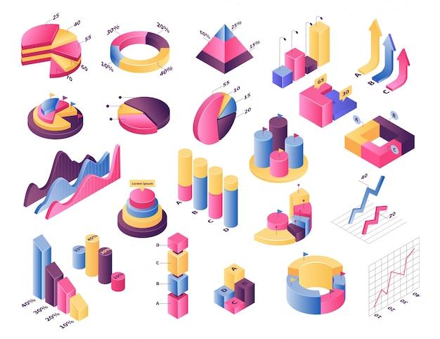 Conjunto de ilustración de gráfico de gráfico isométrico, elemento de infografía, barra de diagrama con porcentaje de estadísticas o gráfico circular en blanco
