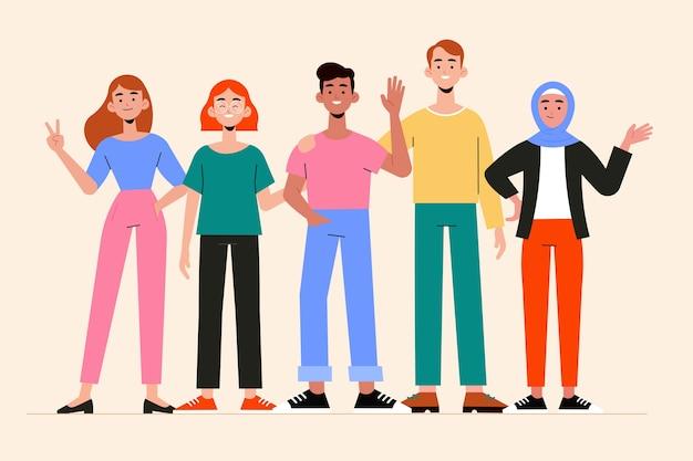 Conjunto de ilustración de grupo de personas