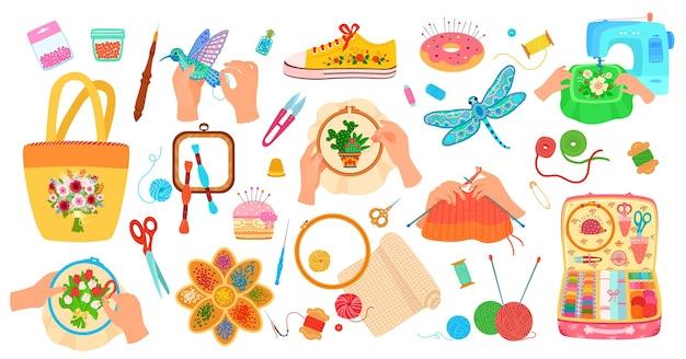 Conjunto de ilustración de herramientas de artesanía de costura