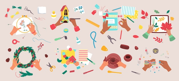 Conjunto de ilustración de hobby artesanal