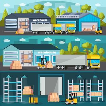 Conjunto de ilustración horizontal de almacén