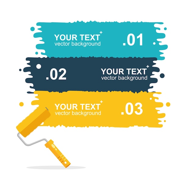Conjunto de ilustración horizontal, colorido fondo de pinceles de rodillo para texto aislado. banner de opciones