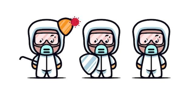 Conjunto de ilustración de icono de diseño de mascota médica linda