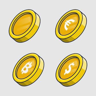 Conjunto de ilustración de icono de monedas