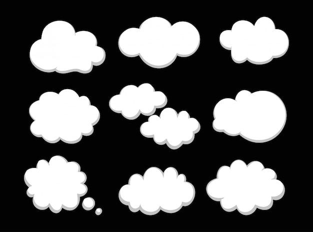 Conjunto de ilustración del icono de nubes