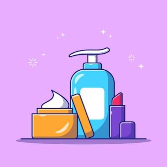 Conjunto de ilustración de icono plano de botella de cosméticos de cuidado de piel de belleza
