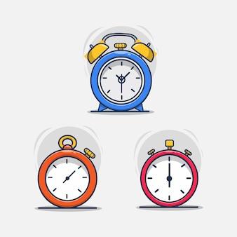 Conjunto de ilustración de icono de reloj despertador y cronómetro