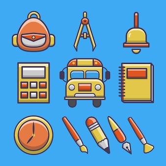 Conjunto de ilustración de icono de vector de dibujos animados de escuela linda.