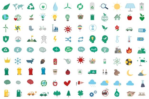 Conjunto de ilustración de iconos ambientalmente