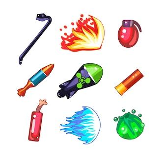 Conjunto de ilustración de iconos de arma y bomba
