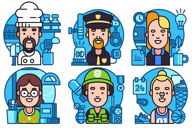 Conjunto de ilustración de iconos de avatar