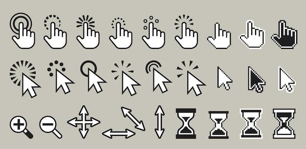 Conjunto de ilustración de iconos de cursor de ratón de computadora de píxeles