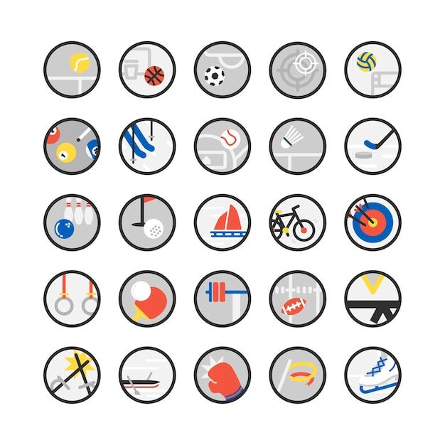Conjunto de ilustración de iconos de deporte