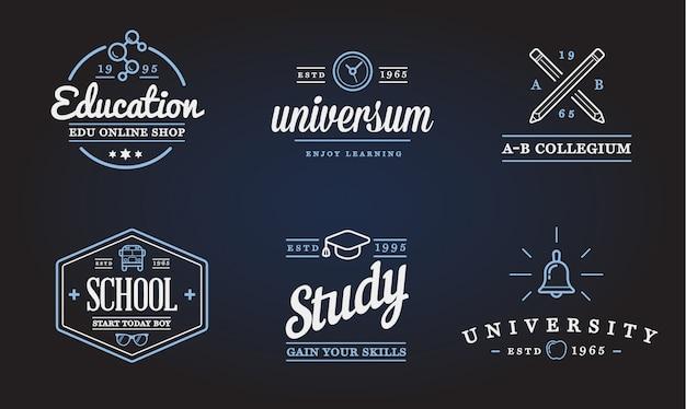 Conjunto de ilustración de iconos de educación se puede utilizar como logotipo o icono en calidad premium