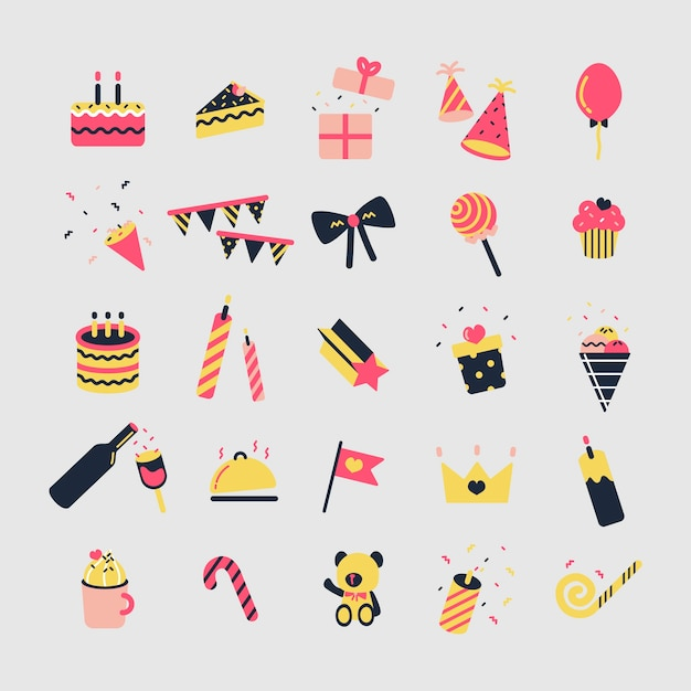 Conjunto de ilustración de iconos de fiesta de cumpleaños