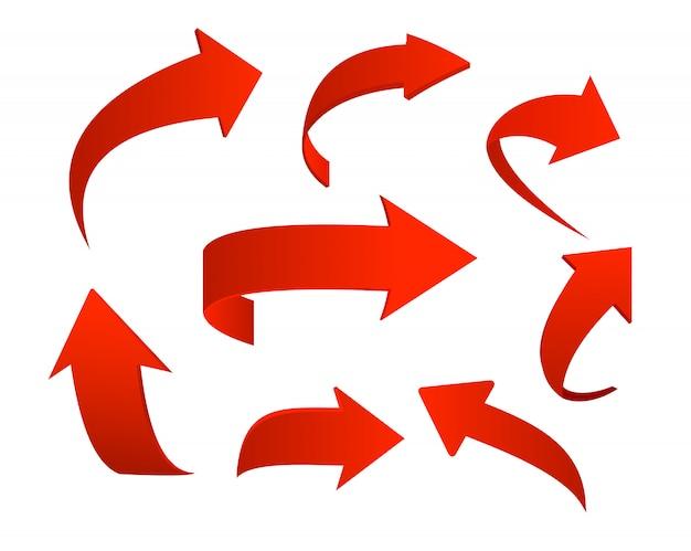 Conjunto de ilustración de iconos de flecha roja sobre fondo blanco