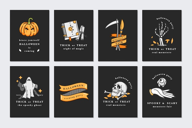 Conjunto de ilustración de iconos lineales para feliz halloween. feliz halloween tarjetas de felicitación sobre fondo negro.
