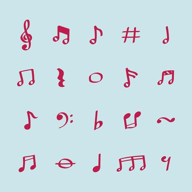 Conjunto de ilustración de iconos de nota musical