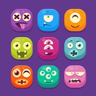 Conjunto de ilustración de iconos web lindo monstruo