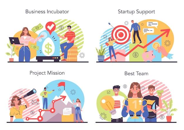 Conjunto de ilustración de incubadora de empresas