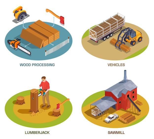 Conjunto de ilustración de la industria del aserradero