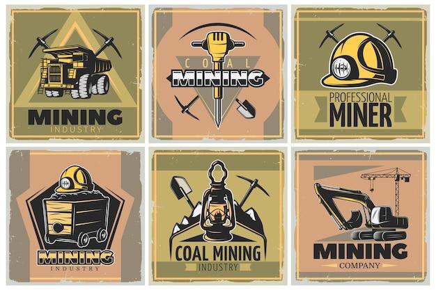 Conjunto de ilustración de la industria minera