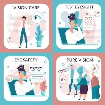 Conjunto de ilustración informativa para el cuidado de la visión.