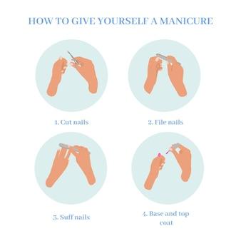 Conjunto de ilustración de instrucciones de manicura