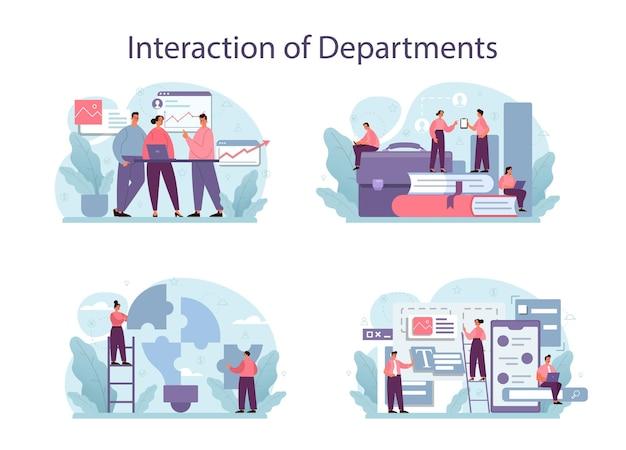 Conjunto de ilustración de interacción de departamentos.