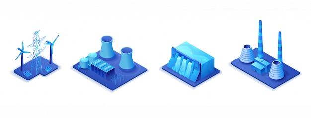 Conjunto de ilustración isométrica 3d de fábrica