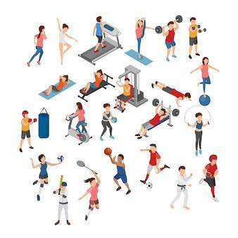 Conjunto de ilustración isométrica de diferentes deportes