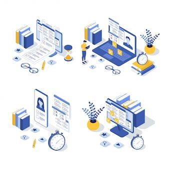 Conjunto de ilustración isométrica de educación en línea