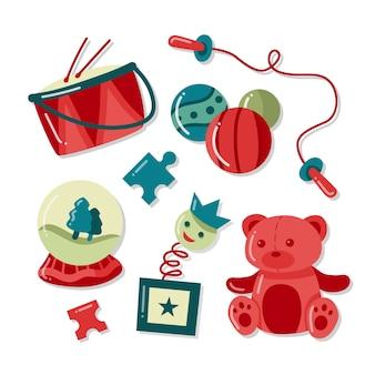 Conjunto de ilustración de juguete de navidad dibujado a mano