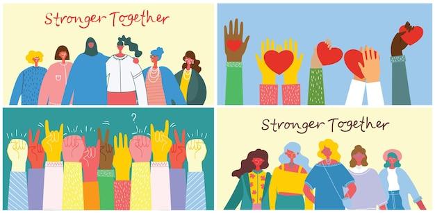 Conjunto de ilustración juntos más fuertes. concepto femenino y empoderamiento de la mujer.