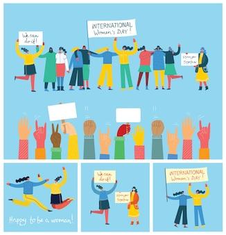 Conjunto de ilustración juntos más fuertes. concepto femenino y empoderamiento de la mujer