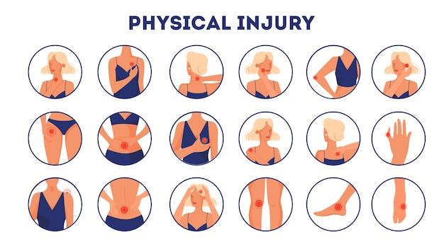 Conjunto de ilustración de lesiones corporales. estilo de dibujos animados
