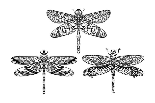 Conjunto de ilustración de libélula mandala dibujada a mano