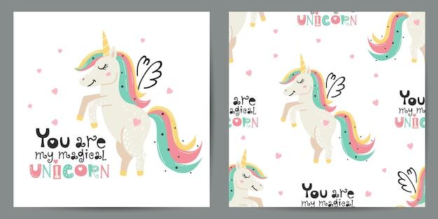 Conjunto de ilustración linda y patrones sin fisuras con unicornios