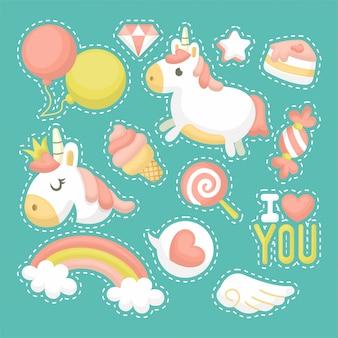 Conjunto de ilustración de lindo unicornio con estilo de dibujos animados
