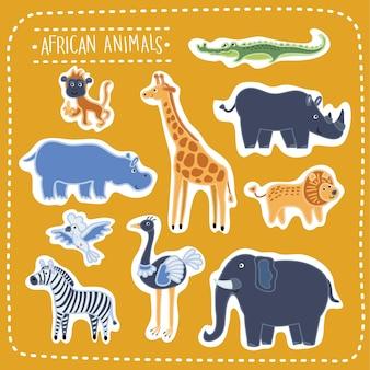Conjunto de ilustración de lindos animales africanos divertidos, bestias de la sabana