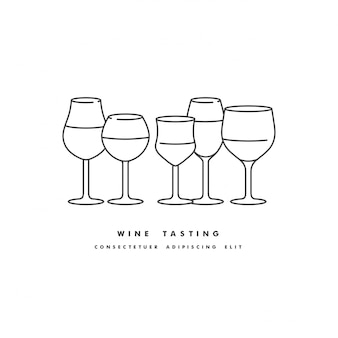 Conjunto de ilustración lineal de diferentes tipos de copas de vino aisladas sobre fondo blanco.