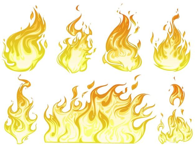 Conjunto de ilustración de llama