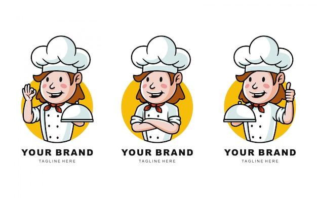 Conjunto de ilustración de logotipo de chef de dibujos animados para restaurante
