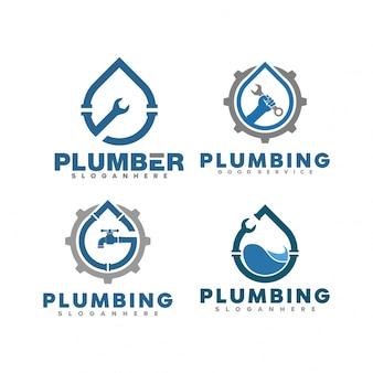 Conjunto de ilustración de logotipo de plomería