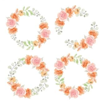 Conjunto de ilustración de marco acuarela rosa flor círculo