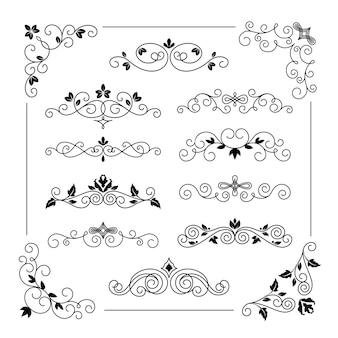 Conjunto de ilustración de marcos de vector vintage