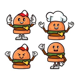 Conjunto de ilustración de mascota de hamburguesa