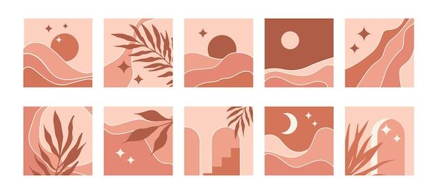 Un conjunto de ilustración minimalista abstracta de mediados de siglo con paisaje de montaña, formas naturales, arcos, sol, luna, estrellas.