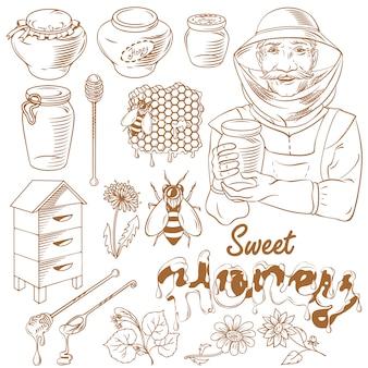 Conjunto de ilustración monocromo de miel