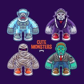 Conjunto de ilustración de monstruo lindo